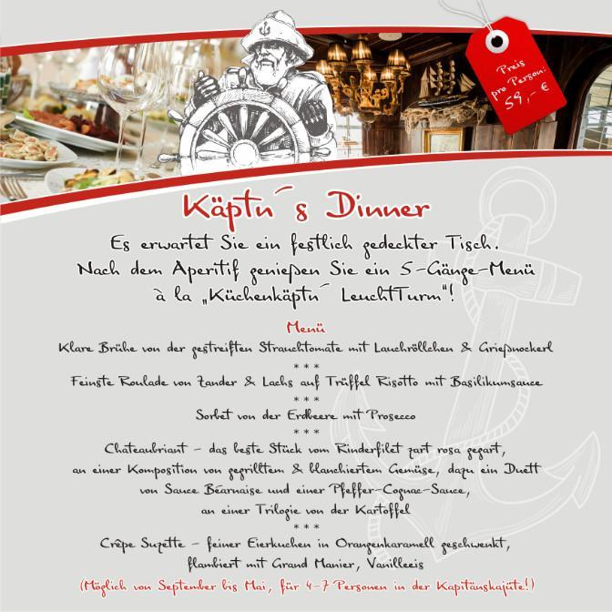 Neu ab September: Käptn's Dinner in der Kapitänskajüte